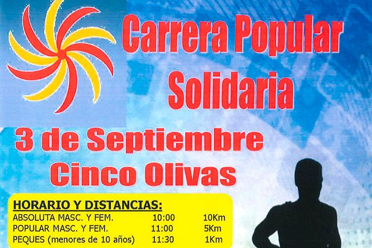 Cartel carrera solidaria Cinco Olivas 2016